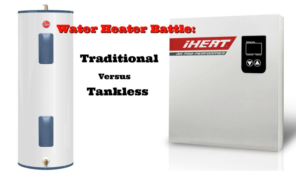 A traditional water heater and a tankless water heater