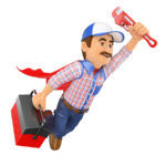 Illustration of a plumber as a super hero