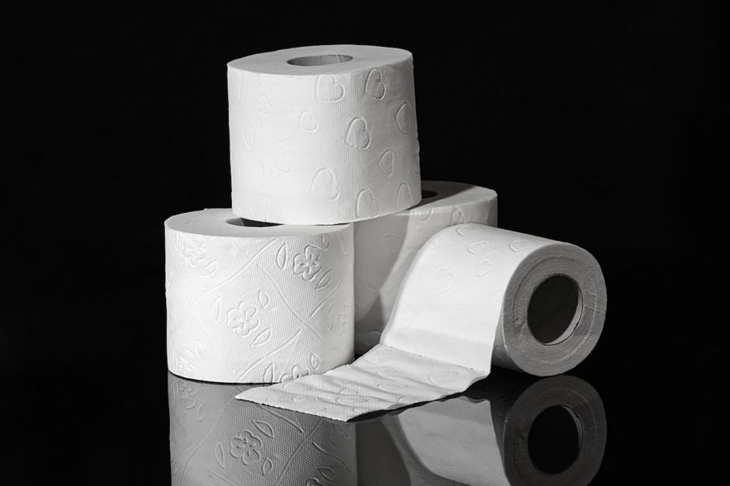 A pyramid of toilet paper