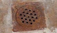 A rusty drain